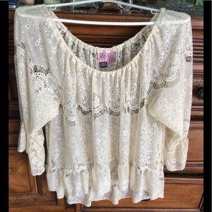 Love On A Hanger Cream Lace Top